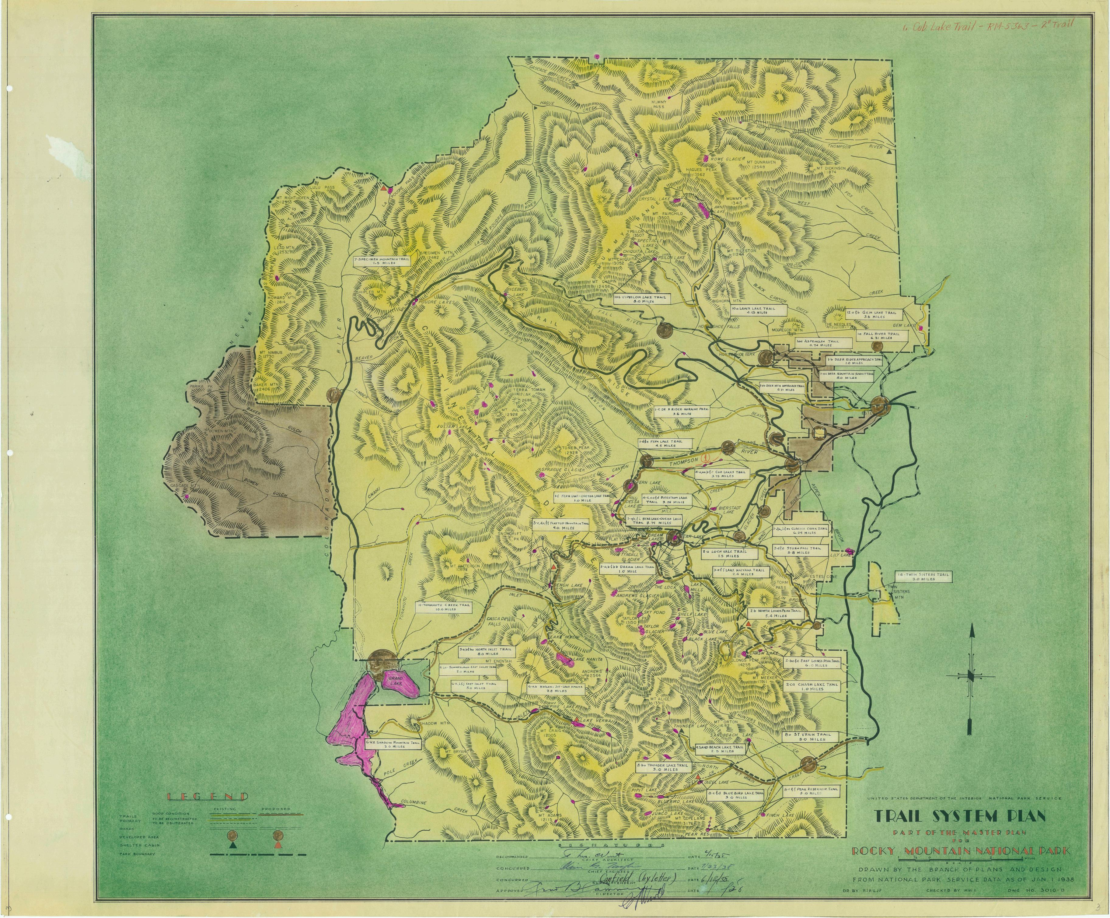 Rocky Mountain National Park trail map from 1938 : Colorado
