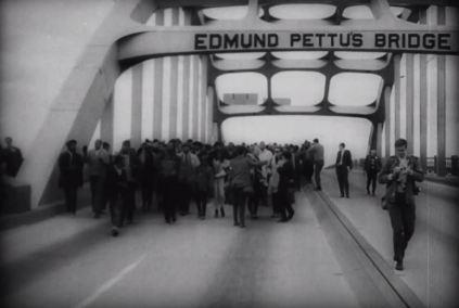 Marchers depart the Edmund Pettus Bridge on March 9, 1965.