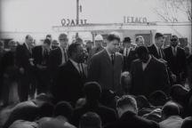 Marchers pray on the Edmund Pettus Bridge on March 9, 1965.