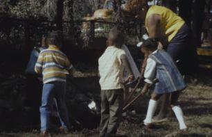 Children tending the Head Start garden.