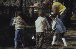 Children tending the Head Start garden.