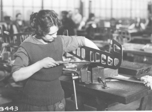 Wartime women workers in airplane factory. 165-WW-581-E4
