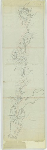 """Manuscript Map showing """"Plantations Leased"""" and """"Plantations Not Leased"""""""