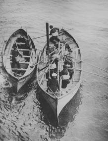 Lusitania lifeboat. These drilled men played a heroic part in the rescue of the passengers. 165-WW-537F-4