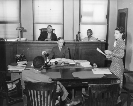 A few Negro women are now practicing lawyers. This one is pleading a case. (Minna Green, of the General Foods Corporation Law Department, is a member of the New York Bar Association, and a graduate of Fordham Law School.) (86-WWT-45-1)