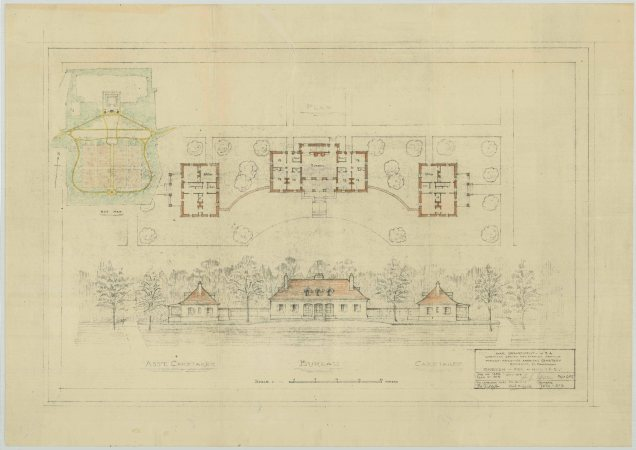 Sketch for houses, Meuse-Argonne American Cemetery