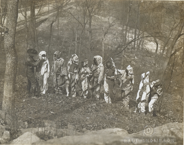 Women's Camouflage Reserve Corps, of the National League for Women's Service, Study camouflage at Van Cortlandt Park, New York. Local ID: 165-WW-599G-21.