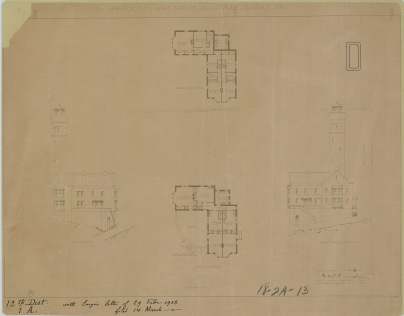 RG26: Lighthouse Plans; CA, Alcatraz Island, #12. Proposed Lighthouse, Southeast and Southwest Elevations, First and Second Floor plans, 1908.
