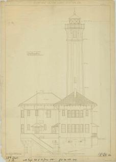 RG26: Lighthouse Plans; CA, Alcatraz Island, #2. Southeast Elevation, 1909.