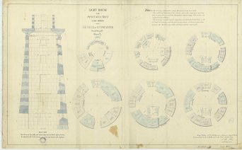 RG26: Lighthouse Plans; MI, Spectacle Reef; #14. Details of Stonework, 1871.