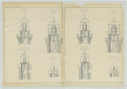 RG26: ZZ, Standard Apparatus Plans; Vol. 19, Plate 103. Vertical sections of Lanterns, 1862.
