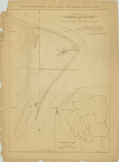 RG26: Lighthouse Plans; WA, Marrowstone Point; #1. Plan showing proposed location of structures, 1895.