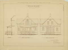 RG26: Lighthouse Plans; WA, Marrowstone Point; #5. Keepers Dwelling, Front and rear elevation, 1895.