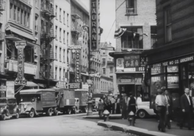 "Street scene, Chinatown, New York City. Still from outtakes from ""Metropolis."""