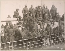 Members of the 369th Regiment returning from France in March 1919, decorated with French War Crosses. Local Identifier, 165-WW-127-3.