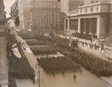 The 369th march passed the New York Public Library at 42nd St. and Fifth Ave. during the victory parade. Local Identifier, 165-WW-127-11.