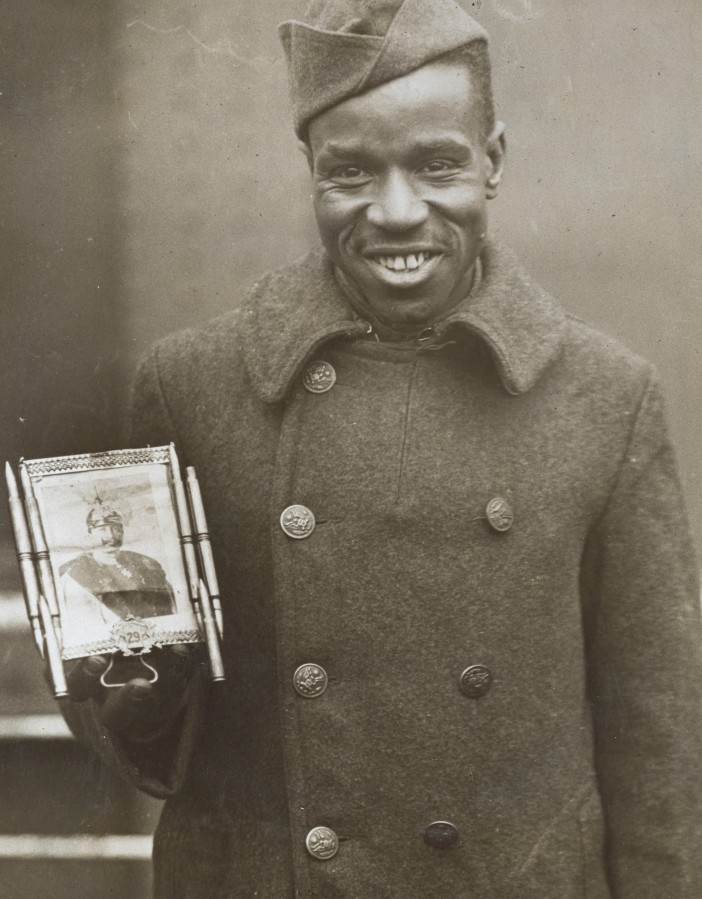 """Corporal Fred McIntyre, aka """"Devil's Man,"""" carried this photo of Kaiser Wilhelm with him for good luck.  Local Identifier, 165-WW-127-32."""