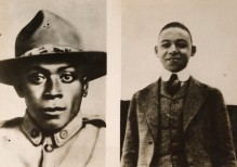 """Henry Johnson and Neadham Roberts, both of the 369th, routed a numerically superior German raiding party in France. The two men earned the French Croix de Guerre for their actions, and Johnson, nicknamed """"Black Death,"""" posthumously earned the Medal of Honor in 2015. Local Identifier, 165-WW-127-38."""