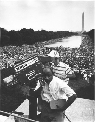 """Civil Rights March on Washington, D.C. [WNBQ/ National Broadcasting Company television crew (Channel 5) with Washington Monument and crowd in background."" (306-SSM-4C-43-26)"