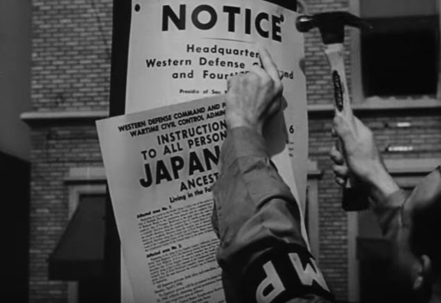 "Still from ""Japanese Relocation"" (1943)."
