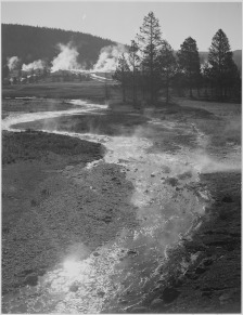 Stream Winding Back Toward Geyser, Central Geyser Basin, Yellowstone National Park, Wyoming. 79-AAT-1