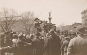 """Original Caption: Opening of 3rd Liberty Loan Drive on first anniversary of U.S. entry into war. Charlie Chaplin, comedy star of the """"movies"""" making his first speech for the Third Liberty Loan in front of the State, War and Navy Building, Washington D.C. April 6, 1918. Local Identifier: 111-SC-7268"""