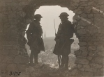 Original Caption: Members of the 107th Infantry, 27th Division, on guard at old French chateau. East of St. Souplet, Nord, France. October 19, 1918. Local Identifier: 111-SC-31875