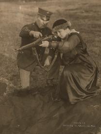 """Mrs. Richard W. Sears at Wakefield rifle range, Wakefield, MA."" Date taken: June 1918 (Local ID: 165-WW-143B-7)"