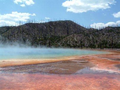 Heat-loving bacteria create amazing colors in these heated pools at Yellowstone National Park. Photo by Katie Armstrong of NSBO. (Local Identifier: 406-NSB-009-pool2.jpg)