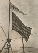 165-WW-167A-18: Flags - Only flag that ever flies above the stars and stripes. When this flag is hoisted above the Stars and Stripes it signals that it is time to attend Divine worship