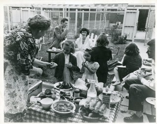"""(Local Identifier: 306-PS-49-5223) """"YARDVILLE SERIES. A family barbecue with neighbors and friends. Philadelphia. Source: McCall's Mag."""""""
