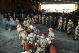 """(Local Identifier: 330-CFD-DF-ST-82-10155.""""Egyptian and U.S. troops enjoy a steak cookout during Exercise Bright Star '82."""""""