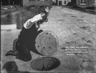 U.S. Navy Yard, Norfolk, Virginia, Manhole Cover Protecting Sub-Surface Survey Monuments; Nov. 1, 1916. Local Identifier: 181-V-1159