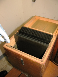 Wooden box originally used to store glass plate negatives.