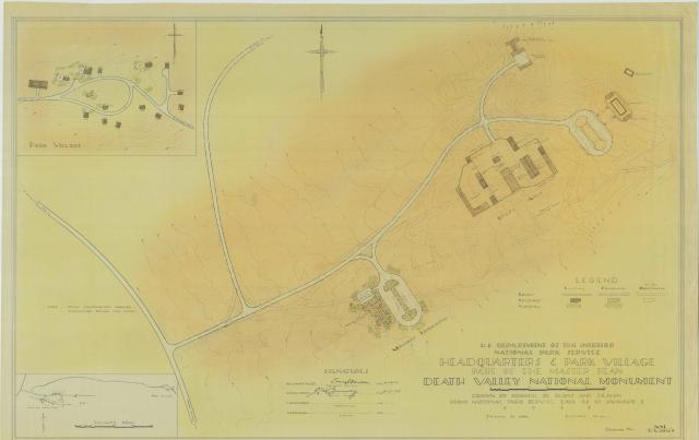 Plan for Death Valley National Monument's headquarters buildings and employee housing areas.