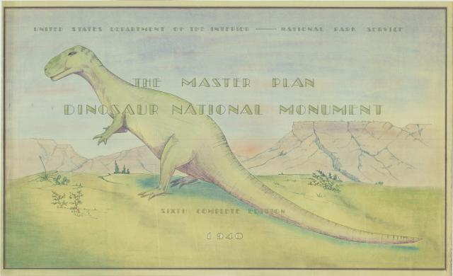 Dinosaur National Monument Master Plan cover sheet, 1940, showing large dinasaur