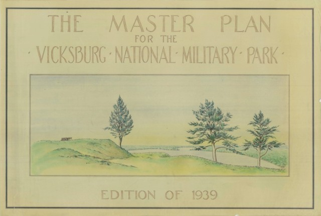 Vicksburg National Military Park Master Plan cover sheet, 1939 showing cannon along river