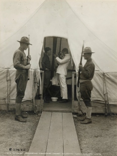 Love Field, Dallas, Texas. Preventative treatment against influenza, spraying the throat. Local Identifier: 165-WW-269B-1