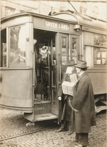 Precautions taken in Seattle, Washington during the Spanish Influenza epidemic would not permit anyone to ride on the street cars without wearing a mask. The Red Cross made 260,000 masks. Local Identifier: 165-WW-269B-11